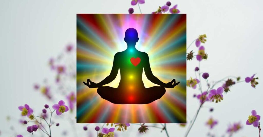 The drawing healing energy from the heart chakra